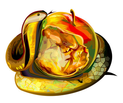 Apple of sin snake Adam and Eve vector illustration religion