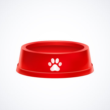 Empty red pet dog food bowl  dish isolated on white background, vector illustration