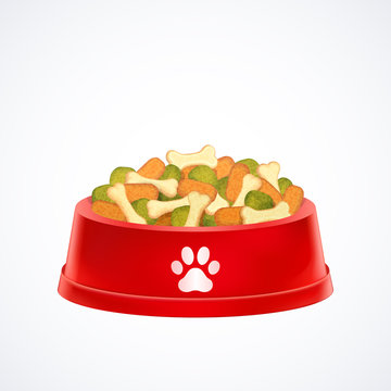 red pet dog bowl  dish with dog dry food isolated on white background, vector illustration graphic