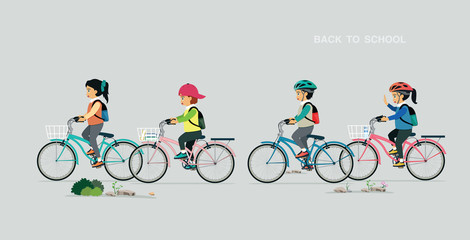 Children carrying a bicycle bag with a gray background