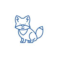 Wolf illustration line concept icon. Wolf illustration flat  vector website sign, outline symbol, illustration.