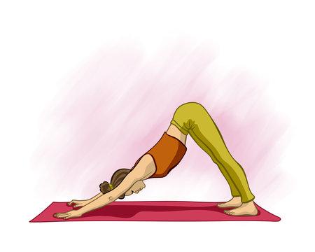 girl in yoga pose, drawing