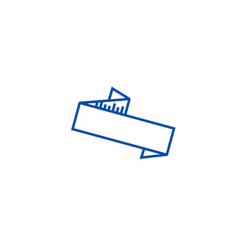 Zig zag ribbon  line concept icon. Zig zag ribbon  flat  vector website sign, outline symbol, illustration.