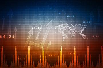 2d rendering Stock market online business concept. business Graph