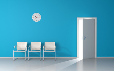 Open door with strong light in blue waiting room with white chairs and wall clock