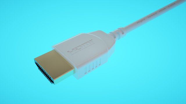 Latest generation HDMI cable and connector on blue illuminated background. 4K and Ethernet cable.