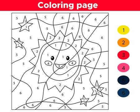 Educational number coloring page. Vector kawaii cartoon sun. Space theme.