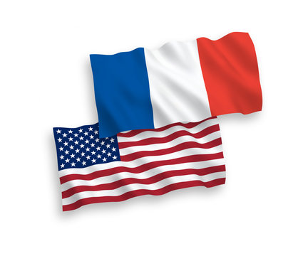 National vector fabric wave flags of France and America isolated on white background. 1 to 2 proportion.