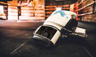 Fotomurales - boxing glove on boxing ring in gym Sport concept background.