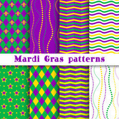 Mardi gras vector different seamless pattern: argyle, chevron, beading, stars, wavy background; white, yellow, green, purple, violet colors. Pattern swatches included in the Swatches panel