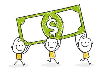 Strichfiguren / Strichmännchen: Geld, Geldschein, Dollar. (Nr. 371)