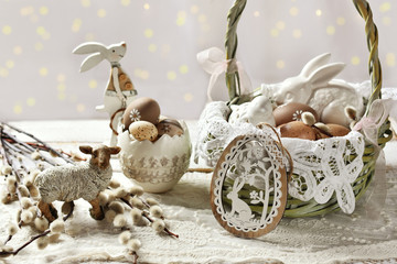 easter decoration with wicker basket