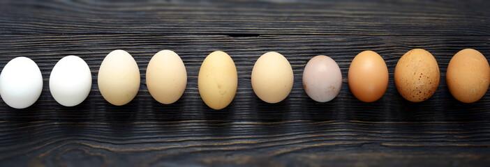 fresh free-range different eggs, Easter