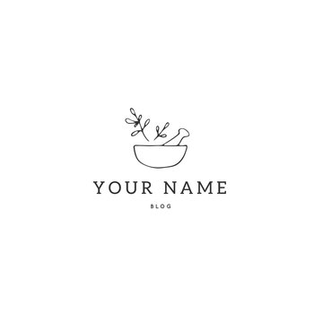 Kitchen logo template, a bowl with spices. Vector hand drawn object.