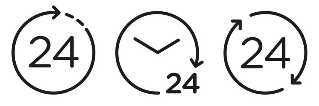 Vector 24 hours icons set. Support 24 hours a day. Round the clock on white isolated background.