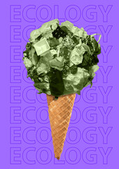 A lot of trash - its not delicious. Environmental problems and trash fight concept. Icecream made of green household garbage against purple background. Modern design. Contemporary pop-art collage.