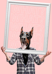 Go beyond. Contemporary art collage or portrait of surprised dog headed man in shirt holding white frame. Modern style pop zine culture concept.