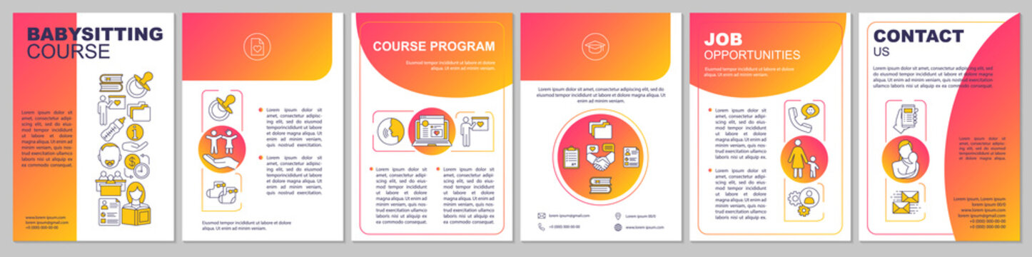 Babysitting course brochure template layout