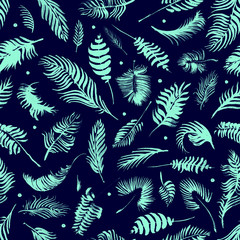 Palm branches on the black background. Exotic pattern. Hand drawn watercolor tropical seamless pattern with the botanical silhouettes of palm leaves. Minimal design of app background, cloth print.