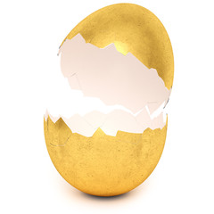 Golden egg with broken eggshell