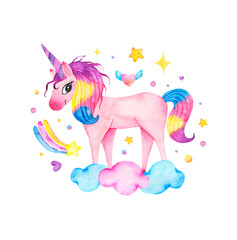 Watercolor cute magic pink unicorn with rainbow, clouds and star isolated