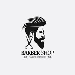 Barber shop logo design template. Vector illustration