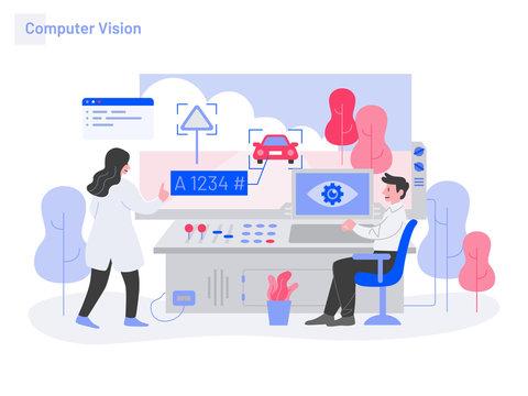 Computer Vision Illustration Concept. Modern flat design concept of web page design for website and mobile website.Vector illustration