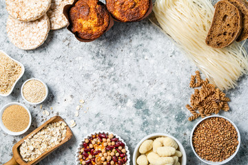 Gluten free diet concept - selection of grains and carbohydrates for people with gluten intolerance, copy space Wall mural