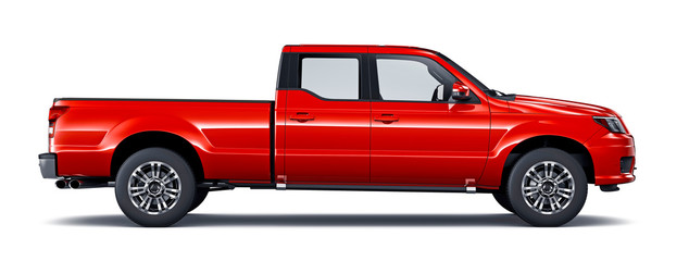 Red pickup truck - side view