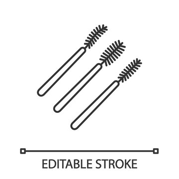 Disposable mascara wands linear icon