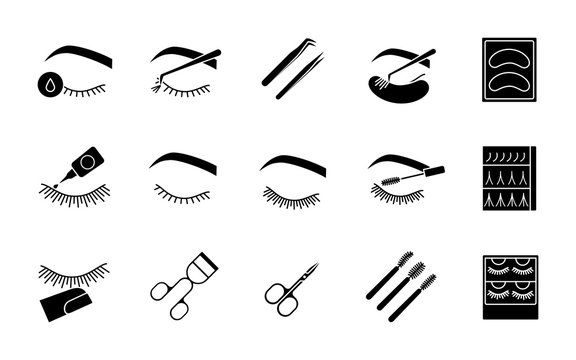 Eyelash extension glyph icons set