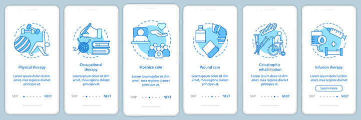 Nursing care onboarding mobile app page screen vector template
