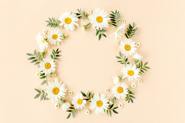 Wall Mural - Wreath made of chamomiles, petals, leaves on beige background. Flat lay, top view floral background.