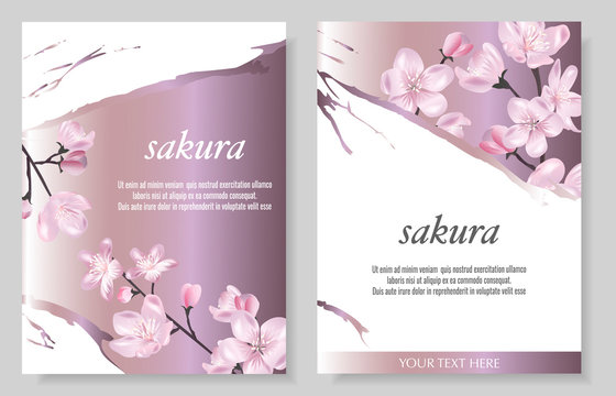 Set of Vector cards with Luxurious sakura flowers