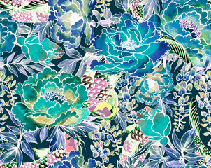 Watercolor flowers. Japanese seamless pattern.Asian ink print with chrysanthemum and wisteria