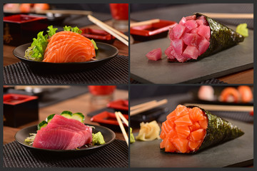 Japanese food four pic collage