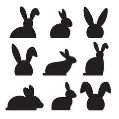 easter bunny silhouette- vector illustration