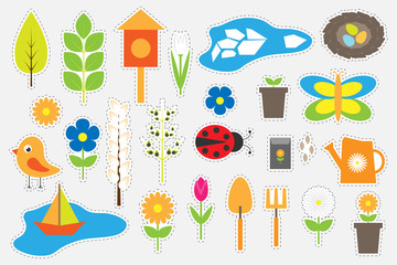 Different colorful spring and garden pictures for children, fun education game for kids, preschool activity, set of stickers, vector illustration