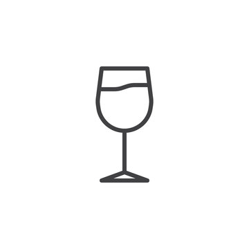 Wine glass line icon. linear style sign for mobile concept and web design. Glass of wine outline vector icon. Bar symbol, logo illustration. Pixel perfect vector graphics