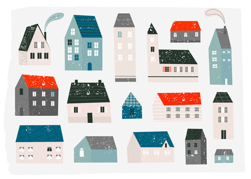 Various small tiny houses. Paper cut style. Flat design. Stamp texture. Hand drawn trendy illustration. Colored vector set. All elements are isolated