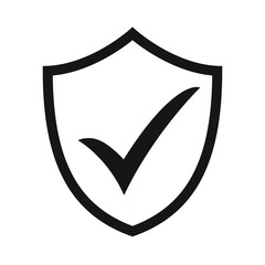 Shield with checkmark symbol for download. Tick shield security icon. Vector icon.