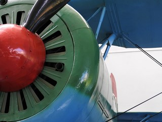 Close-up of fragments and details of the old aircraft.
