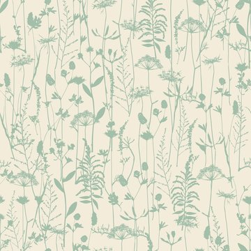 Set of field flowers, herbs. Element of seamless pattern. Paper design. Print element. Vector silhouettes collection.