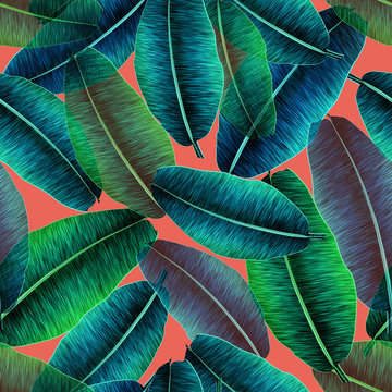 Transparent tropical banana leaves, jungle leaf seamless floral pattern coral background. Artistic palms pattern with seamless repeating design. Pattern for summer designs.