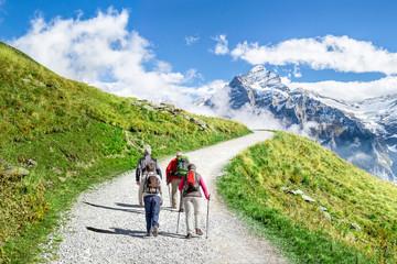Gruppenreise in die Schweizer Alpen mit Wandertour entlang  den Bergen Fototapete