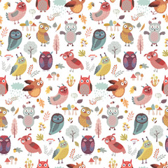 Wall Mural - Seamless pattern with Cute Woodland owls. Funny characters with different mood. Vector illustration. -