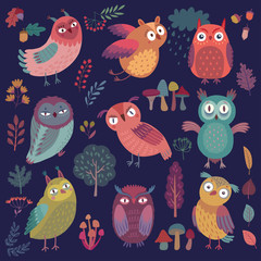 Wall Mural - Cute Woodland owls. Funny characters with different mood on dark background. Vector illustration.