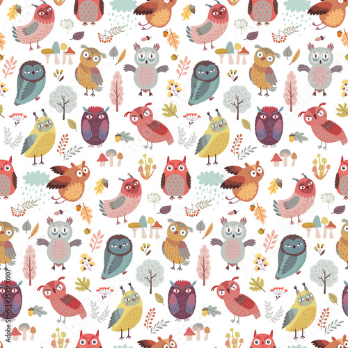 Canvas Prints Seamless pattern with Cute Woodland owls. Funny characters with different mood. Vector illustration. -