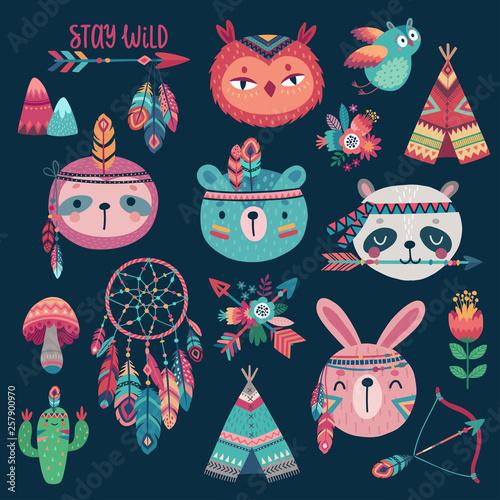 Wall mural Cute Woodland boho tribal characters on dark background. American indian set of