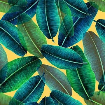 Transparent tropical banana leaves, jungle leaf seamless floral pattern yellow background. Artistic palms pattern with seamless repeating design. Pattern for summer designs.